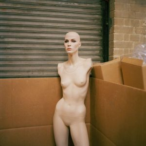 A female mannequin without arms
